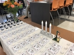 Table set up with a Name Badge for each classmate that died in the last 50 years.